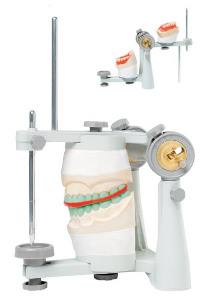 """Articulador: dispositivo mecânico que """"tenta""""reproduzir os movimentos da mandíbula"""