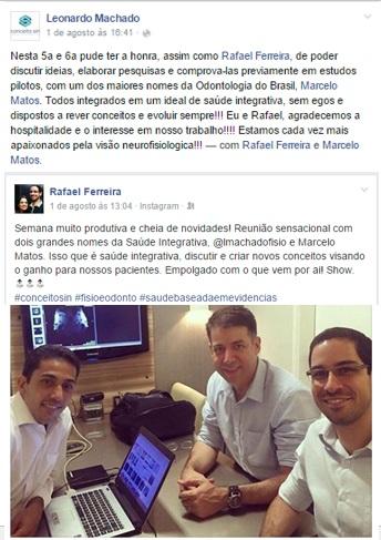 Postagem  feita pelo Dr. Leonardo Machado e Dr. Rafael Ferreira no Facebook